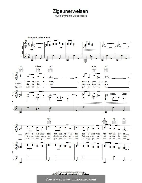 Zigeunerweisen, Op.20: Für Stimme und Klavier (oder Gitarre) by Pablo de Sarasate