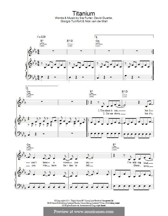 Titanium: Für Stimme und Klavier (oder Gitarre) by David Guetta, Giorgio Tuinfort, Nick van de Wall, Sia Furler