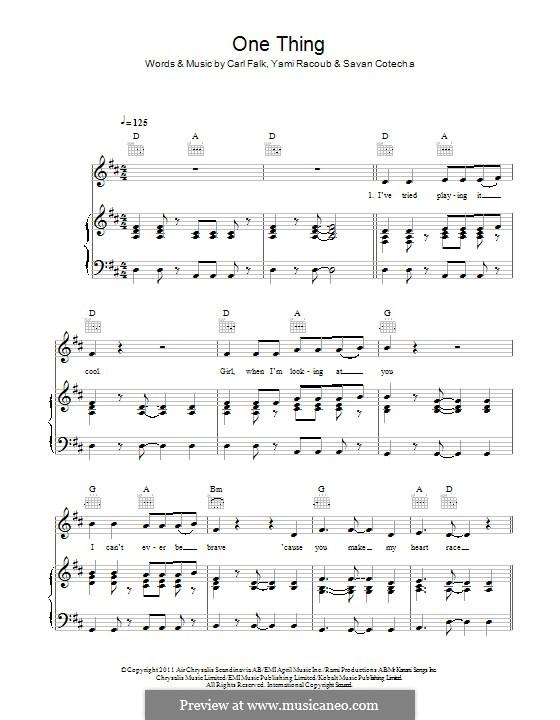 One Thing (One Direction): Für Stimme und Klavier (oder Gitarre) by Carl Falk, Rami Yacoub, Savan Kotecha