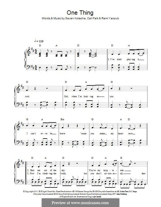 One Thing (One Direction): Für Klavier by Carl Falk, Rami Yacoub, Savan Kotecha