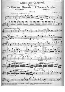 Römischer Carneval. Ouvertüre, H.95 Op.9: Flötenstimme I by Hector Berlioz
