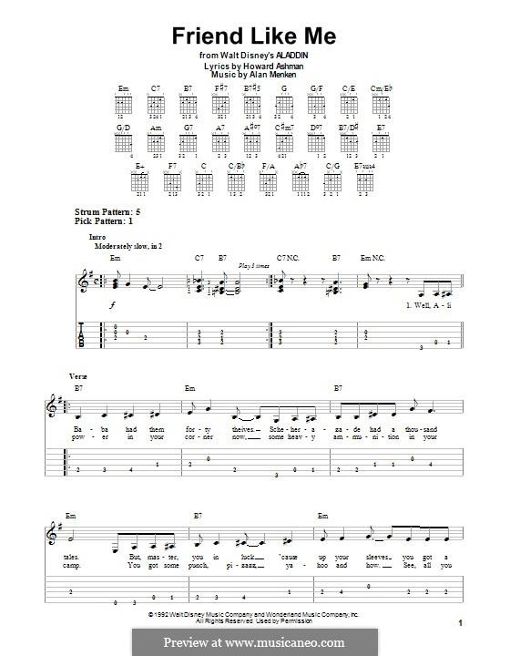Friend Like Me (from Aladdin): Für Gitarre mit Tab by Alan Menken