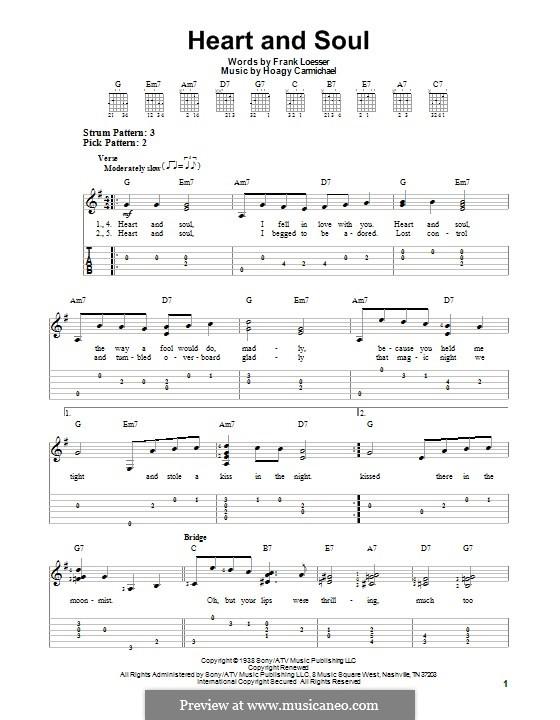 Heart and Soul: Für Gitarre mit Tab by Hoagy Carmichael