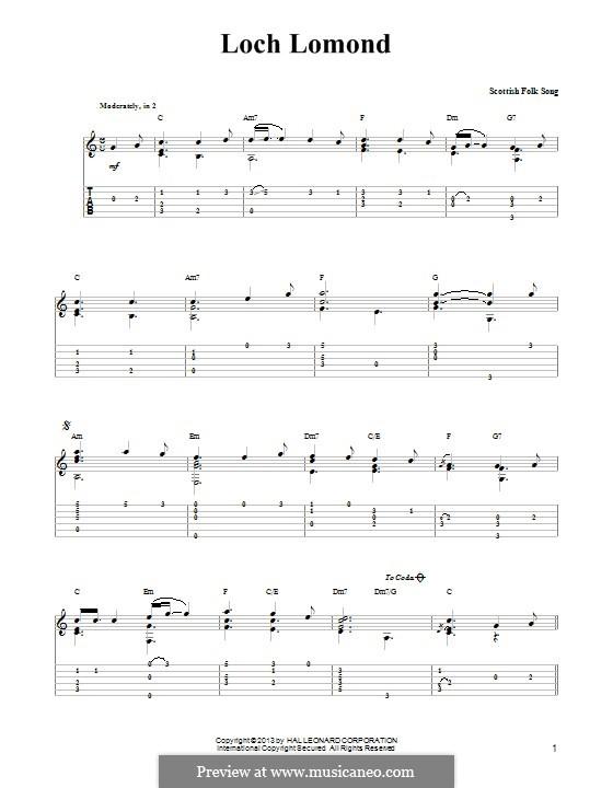Loch Lomond: Für Gitarre mit Tab by folklore