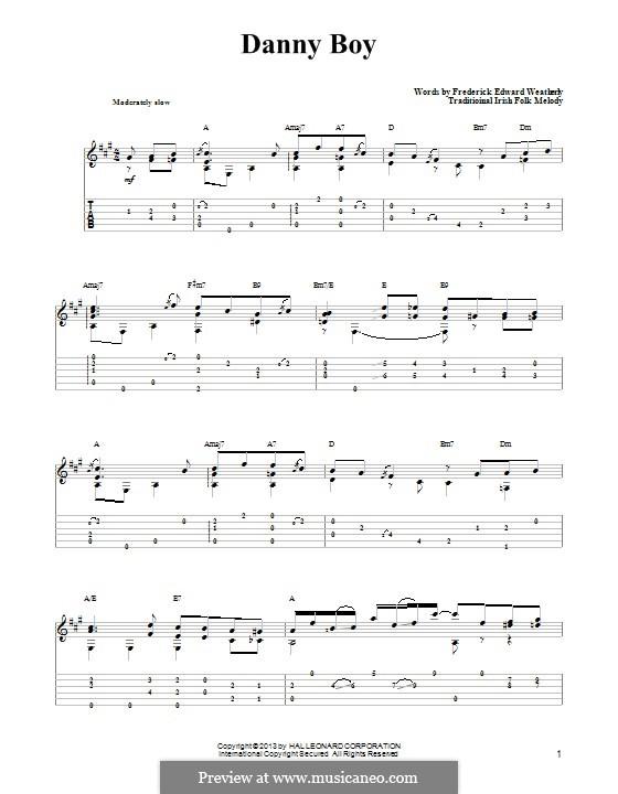 Danny Boy (Londonderry Air) Printable Scores: Für Gitarre mit Tab by folklore
