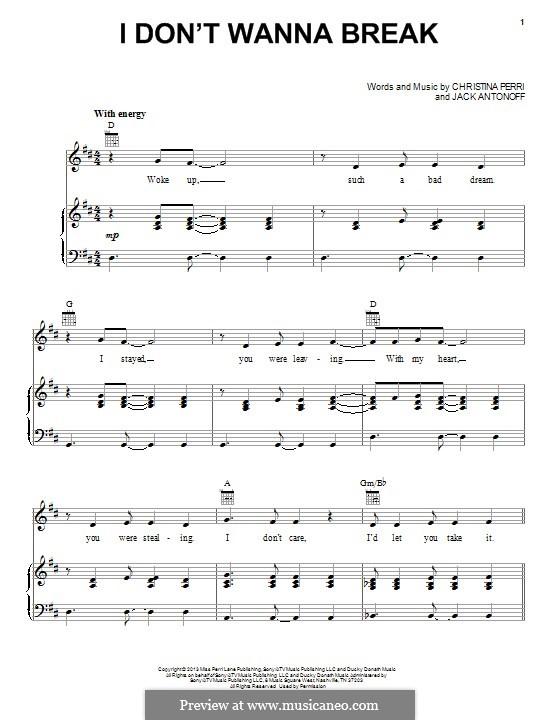 I don't Wanna Break: Für Stimme und Klavier (oder Gitarre) by Christina Perri, Jack Antonoff