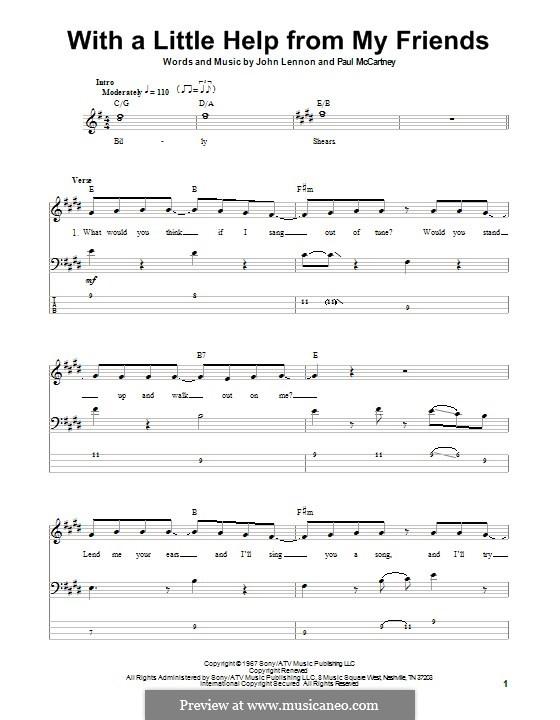 With a Little Help from My Friends (The Beatles): Für Bassgitarre mit Tabulatur by John Lennon, Paul McCartney