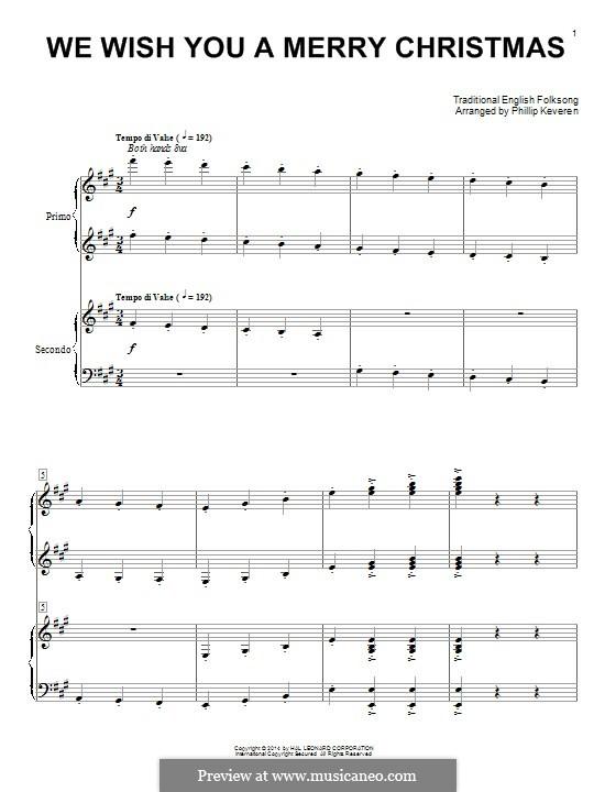 We Wish You a Merry Christmas, for Piano: Für einen Interpreten by folklore