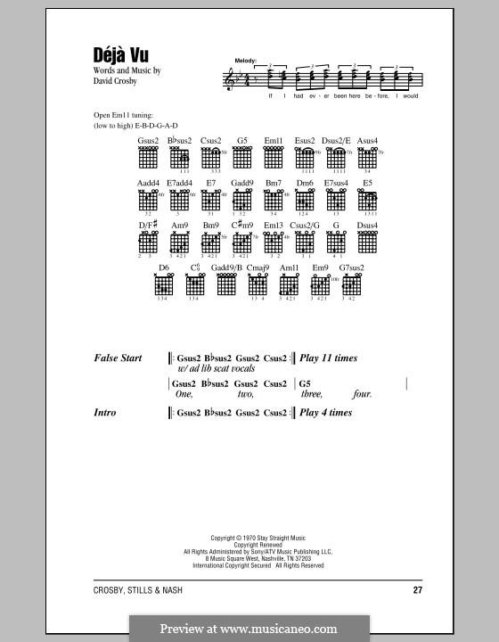 Deja Vu (Crosby, Stills & Nash): Texte und Akkorde by David Crosby