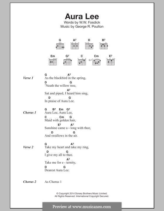 Aura Lee: Texte und Akkorde by George R. Poulton