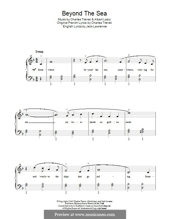 Beyond the Sea: Für Klavier by Albert Lasry, Charles Trenet