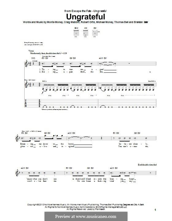 Ungrateful (Escape the Fate): Für Gitarre mit Tab by Brandon Saller, Thomas Bell, Craig Mabbitt, Michael Money, Monte Money, Robert Ortiz