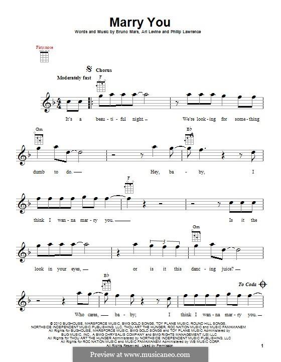 Marry You: Für Ukulele by Ari Levine, Bruno Mars, Philip Lawrence