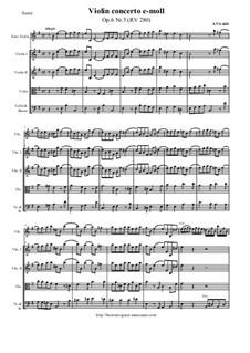 Sechs Konzerte für Streicher, Op.6: Concerto No.5 in E Minor – score and all parts, RV 280 by Antonio Vivaldi