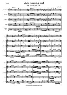 Sechs Konzerte für Streicher, Op.6: Concerto No.6 in D Minor – score and all parts, RV 239 by Antonio Vivaldi