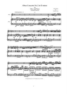 Concerto for Oboe and Stings in D Minor, Op.2: Version für Flöte und Klavier, AMCStr212 by Alessandro Marcello