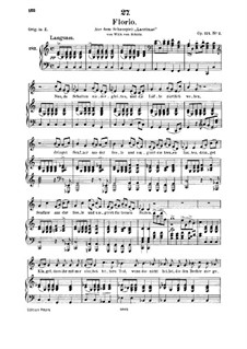 Zwei Szenen aus 'Lacrimas' von Schütz, D.857 Op.124: No.1 Florio, for medium voice and piano by Franz Schubert