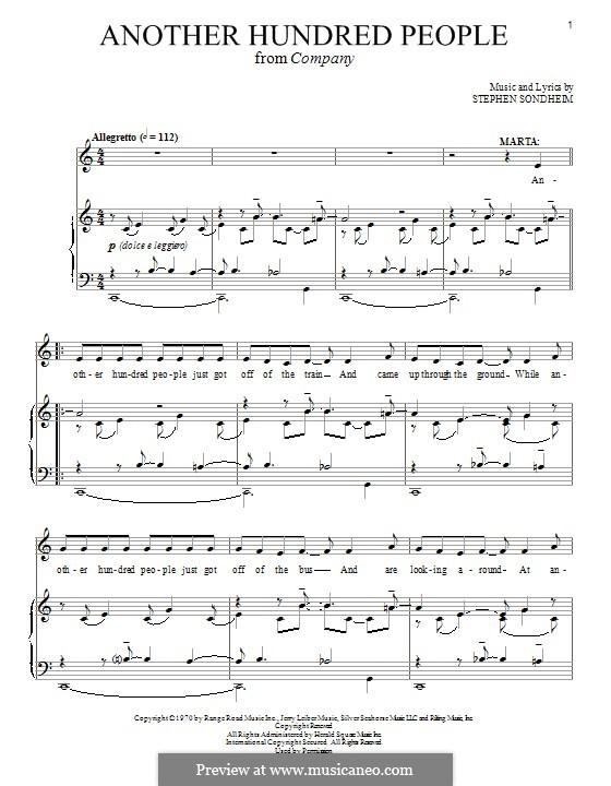 Another Hundred People: Für Stimme und Klavier by Stephen Sondheim