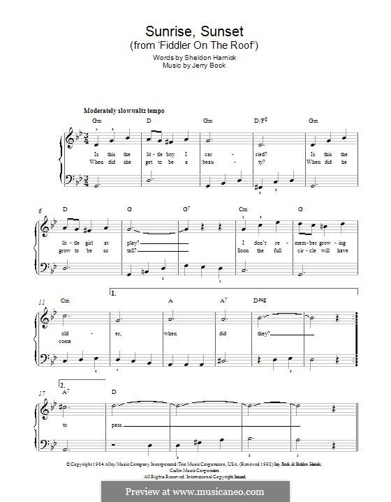 Sunrise, Sunset (from Fiddler on the Roof): Für Klavier by Jerry Bock