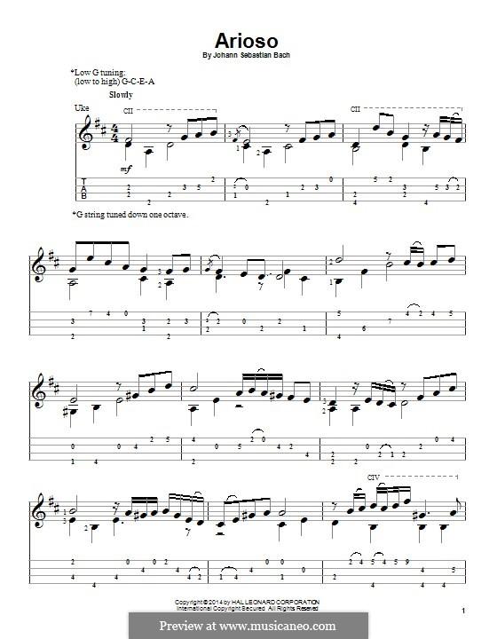 Konzert für Cembalo und Streicher Nr.5 in f-Moll, BWV 1056: Movement II. Arrangement for ukulele by Johann Sebastian Bach