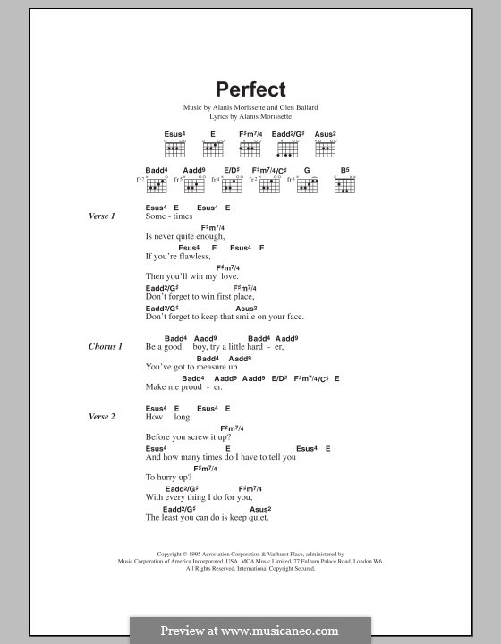 Perfect: Texte und Akkorde by Alanis Morissette, Glen Ballard