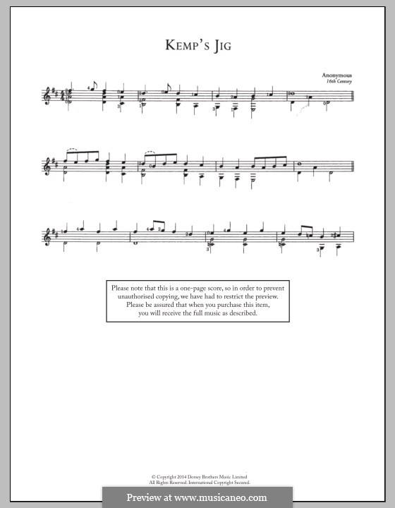 Kemp's Jig: Für Gitarre mit Tab by Unknown (works before 1850)