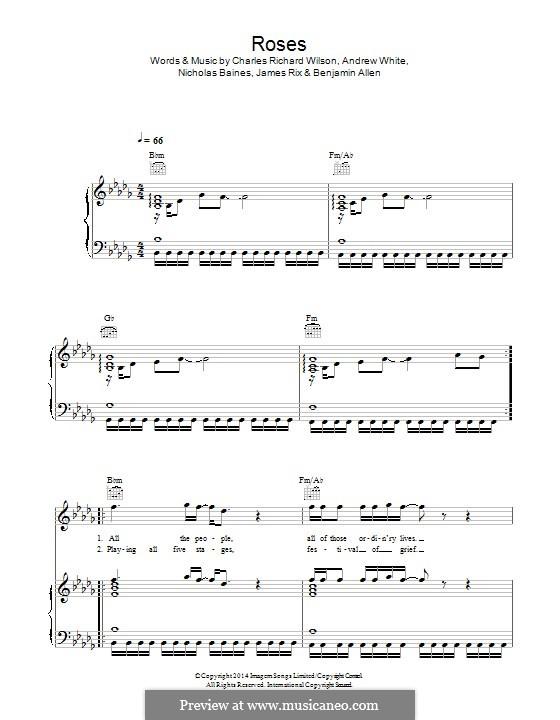 Roses (Kaiser Chiefs): Für Stimme und Klavier (oder Gitarre) by Andrew White, Benjamin Allen, James Rix, Nicholas Baines, Charles Wilson