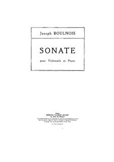 Sonate für Cello und Klavier in g-Moll: Partitur by Joseph Boulnois