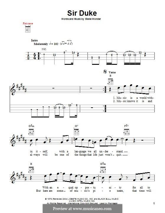 Sir Duke: Für Ukulele by Stevie Wonder