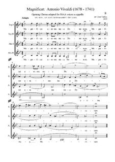 Magnificat, RV 610: Movement I 'Magnificat', arranged for four a cappella female voices by Antonio Vivaldi
