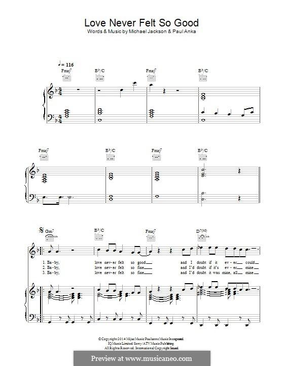 Love Never Felt So Good Fur Stimme Und Klavier Oder Gitarre By Michael