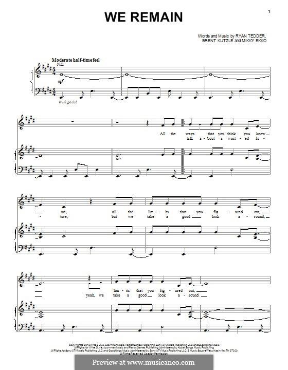 We Remain: Für Stimme und Klavier (oder Gitarre) by Brent Kutzle, Ryan B Tedder, Mikky Ekko