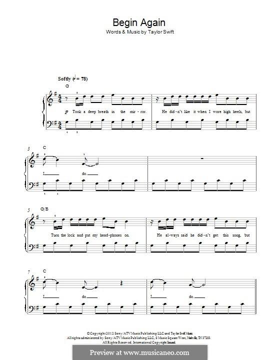 Begin Again: Für Klavier by Taylor Swift