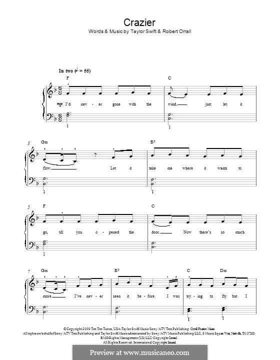 Crazier (Taylor Swift): Für Klavier by Robert Ellis Orrall