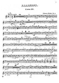 Ständchen Nr.1 in D-Dur, Op.11: Hornstimme III by Johannes Brahms