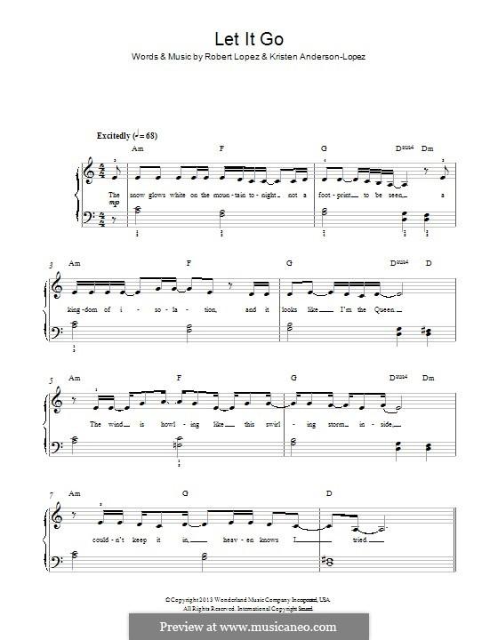 Let It Go (from Frozen): Für Klavier by Robert Lopez, Kristen Anderson-Lopez