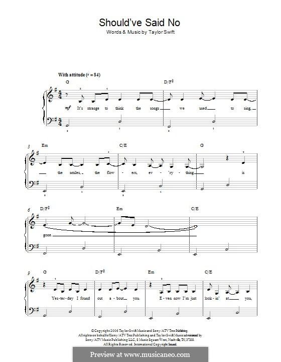 Should've Said No: Für Klavier by Taylor Swift