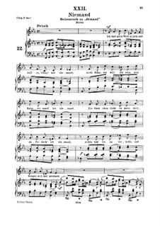 Nr.22 Niemand: Für Mittelstimme und Klavier by Robert Schumann
