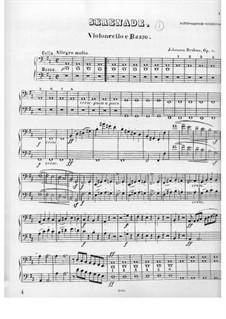 Ständchen Nr.1 in D-Dur, Op.11: Cello- und Kontrabass-Stimme by Johannes Brahms