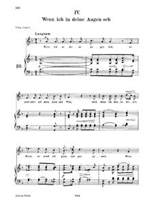 Nr.4 Wenn ich in deine Augen seh: For voice and piano, medium voice by Robert Schumann
