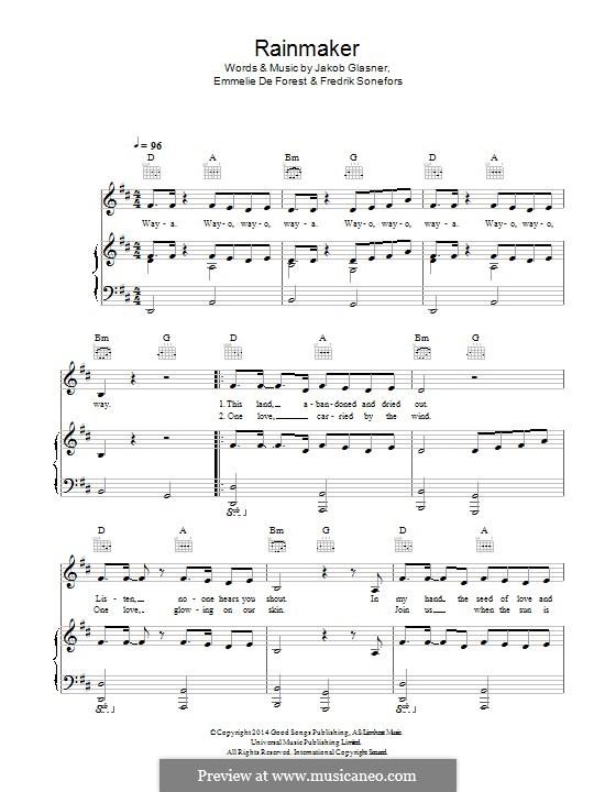 Rainmaker: Für Stimme und Klavier (oder Gitarre) by Fredrik Sonefors, Jakob Glasner, Emmelie De Forest