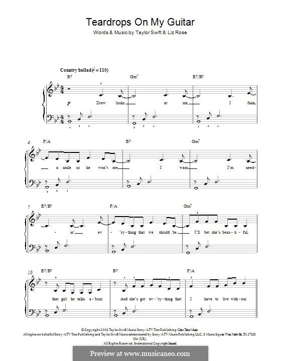 Teardrops on My Guitar: Für Klavier by Liz Rose, Taylor Swift