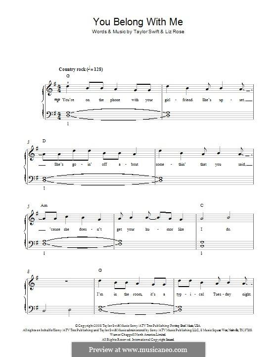 You Belong with Me (Taylor Swift): Für Klavier by Liz Rose
