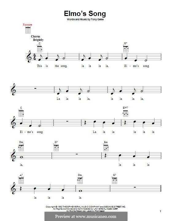Elmo's Song: Für Ukulele by Tony Geiss
