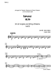 Romanze für Waldhorn (oder Cello) und Orchester, Op.36: Version for cor anglais (french horn) and strings - violin II part by Camille Saint-Saëns