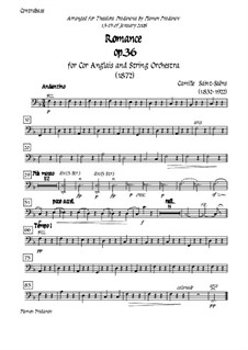 Romanze für Waldhorn (oder Cello) und Orchester, Op.36: Version for cor anglais (french horn) and strings - double bass part by Camille Saint-Saëns