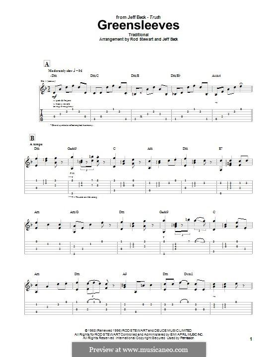 Greensleeves (Printable scores): Für Gitarre mit Tab by folklore