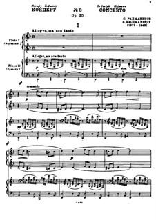 Klavierkonzert Nr.3 in d-Moll, Op.30: Teil I. Version für zwei Klaviere, vierhändig by Sergei Rachmaninoff