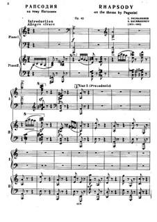 Rhapsodie über ein Thema von Paganini, Op.43: Für zwei Klaviere, vierhändig by Sergei Rachmaninoff