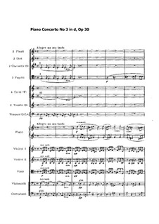 Klavierkonzert Nr.3 in d-Moll, Op.30: Partitur by Sergei Rachmaninoff